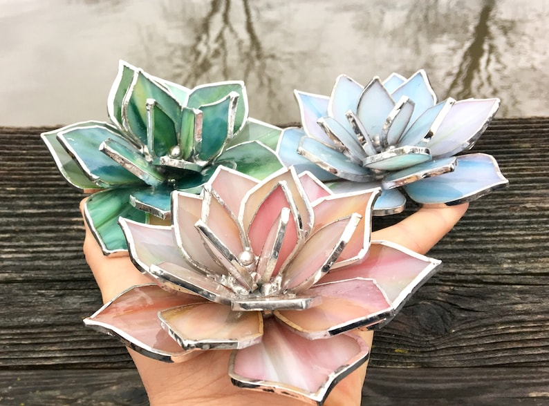 Stained Glass Succulent Wedding Favor Valentines gift image 0