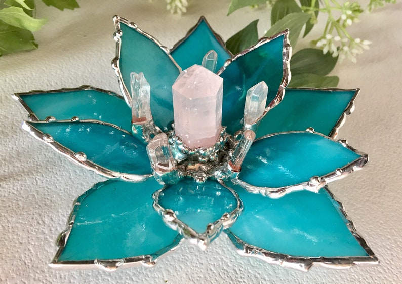 Bohemian Stained  Glass  Flower Wedding Favor Stained Glass Lotus Flower Lotus With Rose Quartz  Crystal