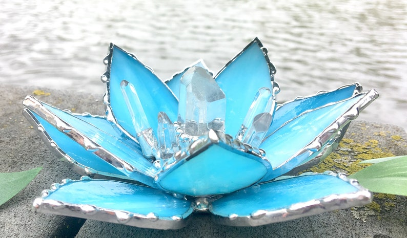 Stained Glass Lotus Flower Lotus With Clear Quartz Wedding Etsy