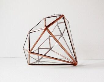 Diamond Terrarium, Stained Glass Planter, Geometric Terrarium, Diamond Shape Planter for Indoor Gardening, Wedding Gift