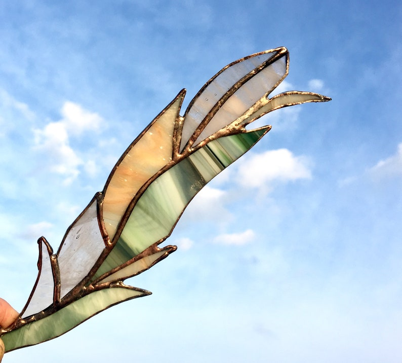 Orange and peach Stained Glass Feather