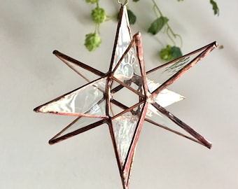 """12 Point Moravian Star. Clear Glass Star. 3D Stained Glass Suncatcher. 5"""" star."""