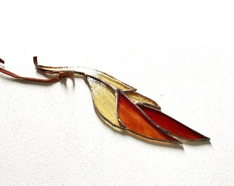 Glass Feather Stained Glass Suncatcher by jacquiesummer