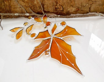 Stained Glass. Stained Glass Suncatcher. Rich Amber, Yellow Maple Leaf.