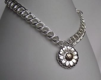 Beautiful Handmade Daisy Fine Silver 999 & 24ct Gold Floral Charm Bracelet