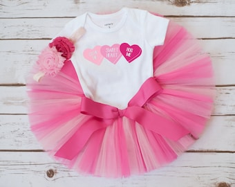 """Valentines Day outfit """"Anita"""" baby girl valentines day outfit valentines outfit girl first valentines day tutu outfit conversation hearts"""