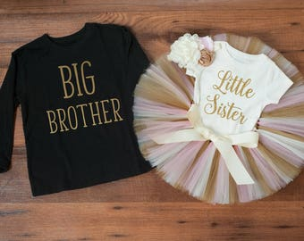 Big brother little sister outfit 'Luca Gold' brother and sister outfit big brother new little sister set new big brother set sibling outfit