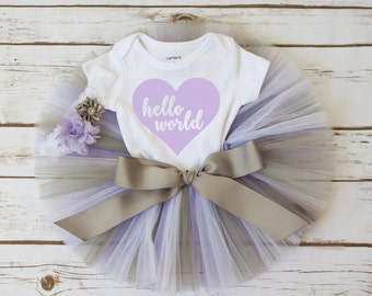 "Newborn take home outfit ""Addison"" Hello World newborn coming home outfit going home outfit girl newborn outfit baby girl newborn tutu"