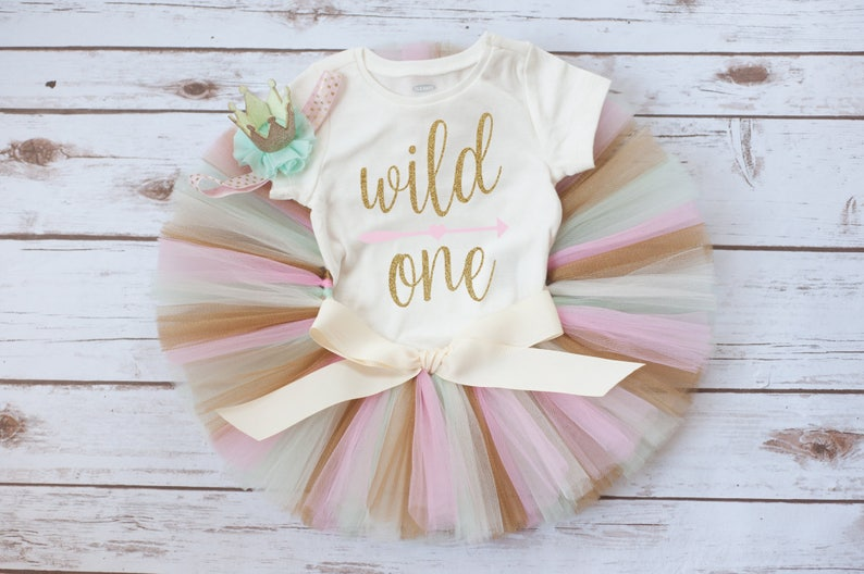 first birthday outfit girl Wild one first birthday outfit girl /'Nieva Gold/' pink mint and gold wild one birthday outfit wild one outfit