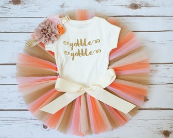 "Girl Thanksgiving outfit ""Kambrie"" gobble gobble turkey outfit baby girl Thanksgiving outfit fall tutu outfit newborn thanksgiving outfit"