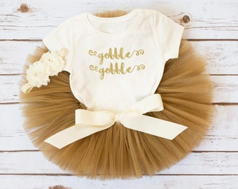 "Gold Thanksgiving outfit ""Taylor"" gobble gobble turkey outfit baby girl Thanksgiving outfit fall tutu outfit newborn thanksgiving outfit"