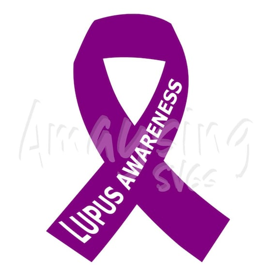 Svg Lupus Awareness Ribbon Lupus Purple Ribbon Lupus Etsy