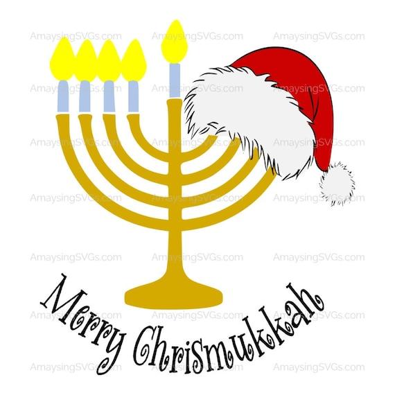 Christmas Hannakah.Svg Merry Christmukkah Christmas Hanukkah Svg Christmukkah Svg Santa Hat Svg Menorah Svg Christian Jewish Holiday Svg