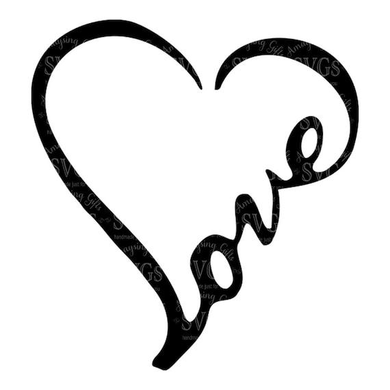 SVG Love Word Heart Love Heart Wordart Love Decal  f9dd413df