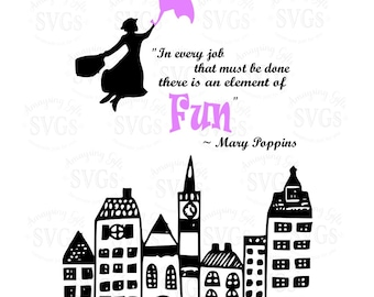 SVG - Mary Poppins Fun - DXF - EPS - Mary Poppins - Element of Fun - Spoonful of Sugar - Nursery Print Design - Playroom Sign Design - Child