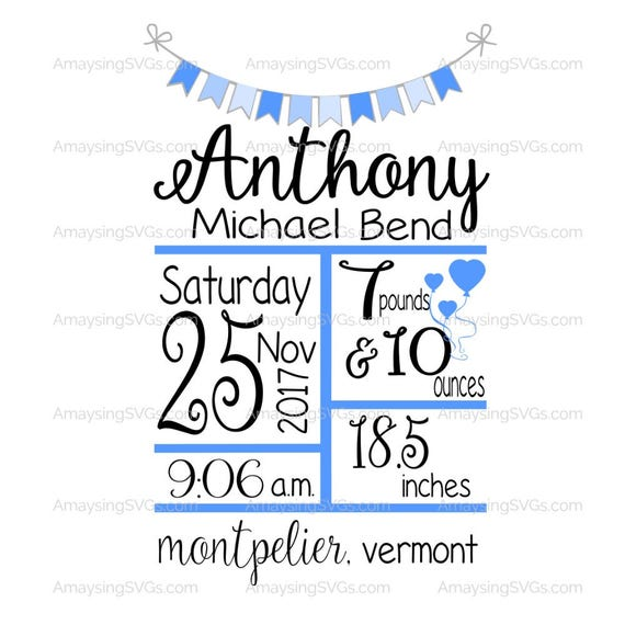 svg baby birth stats with banner svg template new baby etsy