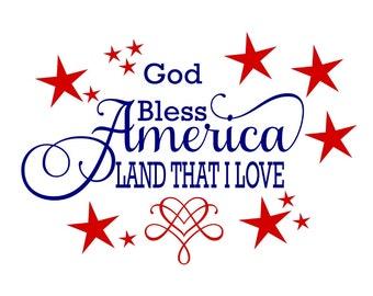God Bless America Land That I Love svg God Bless America svg Patriotic svg Memorial Day svg Independence Day svg 4th of July Pallet Sign svg