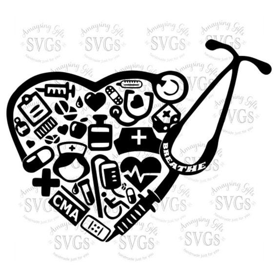 SVG CMA Stethoskop Herz DXF zertifizierte medizinische | Etsy
