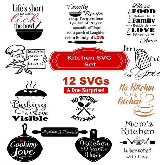 Svg Kitchen Svg Bundle 12 Svgs Food Svg Kitchen Svg Etsy