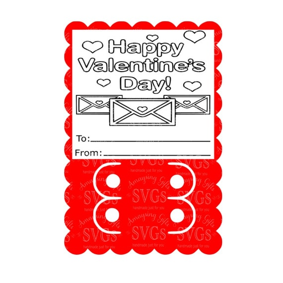 Svg Valentine Crayon Card Dxf Valentine Mail Child Etsy