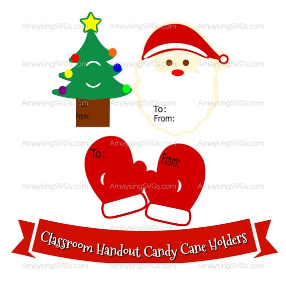 Svg Christmas Candy Cane Holder Classroom Handout Svg Etsy