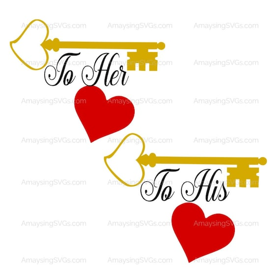 Couple Valentine Tshirt Svg Key To His Heart Key To Her Heart Etsy