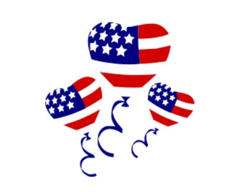 SVG - 4th of July Balloons - US Flag Balloons - Fourth of July - Red White Blue - Stars and Stripes - Balloons - US Flag - Independence Day