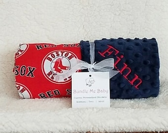 Boston Red Sox Baby Blanket Toddler Minky NAME Embroidered Gift Set Large Minky PERSONALIZED Baby Boy and Girl Gift Set