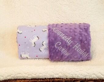 Baby Girl Unicorn Minky Blanket Name Embroidery - Minky Gift Set Burp Cloths Newborn Purple with Sparkle 1st Crib Bedding