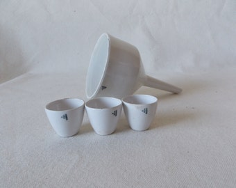 AntiqueVintage Lot of 7 White Porcelain Science Lab Crucibles Filters by Coors Pottery and SCP Japan science lab dish chemistry crucible