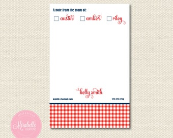 MOM OF NOTEPAD - Sweet Gingham Pattern - Mirabelle Creations