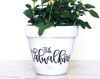 Personalized Planter - Hand Lettered, Customized Flower Pot by Mirabelle Creations