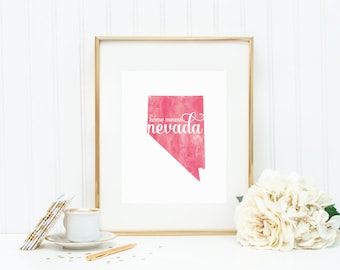"Nevada State Watercolor Art Print - ""Home Means Nevada"" - Mirabelle Creations"
