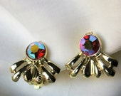 Red Purple Aurora Borealis Firey Lights Gold Tone S G 5th Ave Clip On Earrings 50s Mid Century Costume Jewelry
