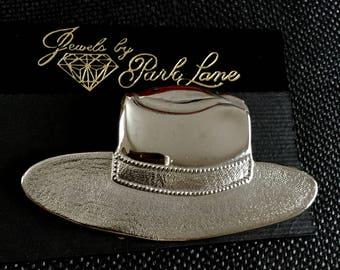 Vintage Park Lane Silver Tone Figural Hat Brooch Original Card Mid Century Gift Giving Pin