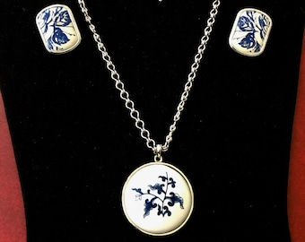 c4ac260ea Vintage Silver Tone Blue White Floral Ceramic Pendant Necklace with Berebi  Clip On Earrings Married Jewelry Set Edgar Berebi Designer Signed