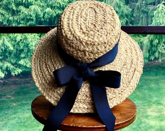 965d129c Vintage Scala Firenze Italy Natural Straw Wide Brim Sun Hat Black Grosgrain  Ribbon Band Straw Hat Resort Beach Garden Sunny Day Hat