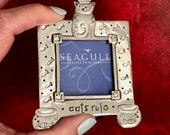 Vintage Seagull Fine Pewter Photo Frame Cats Rule Cat with Crown Etched Fish Motif Surrounding Frame Etain Zinn Canada Cat Figural Frame