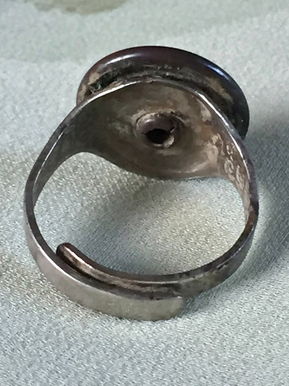 Elgin Courier News Early Enamel Ring Floral Embossed Silver Tone Ring  Adjustable Size Newspaper Carrier Promotional Advertising Jewelry