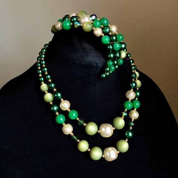 Vintage Lucite Green Bead Faux Pearl Necklace Brac