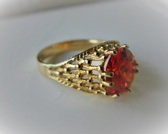 Bright Orange Gold Tone Basket Weave Domed Statement Ring Size 7