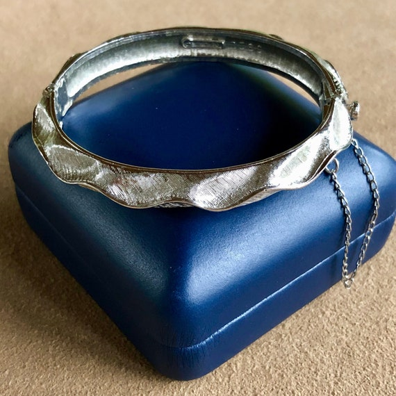 Vintage Boucher Silver Tone Hinged Bangle Bracelet