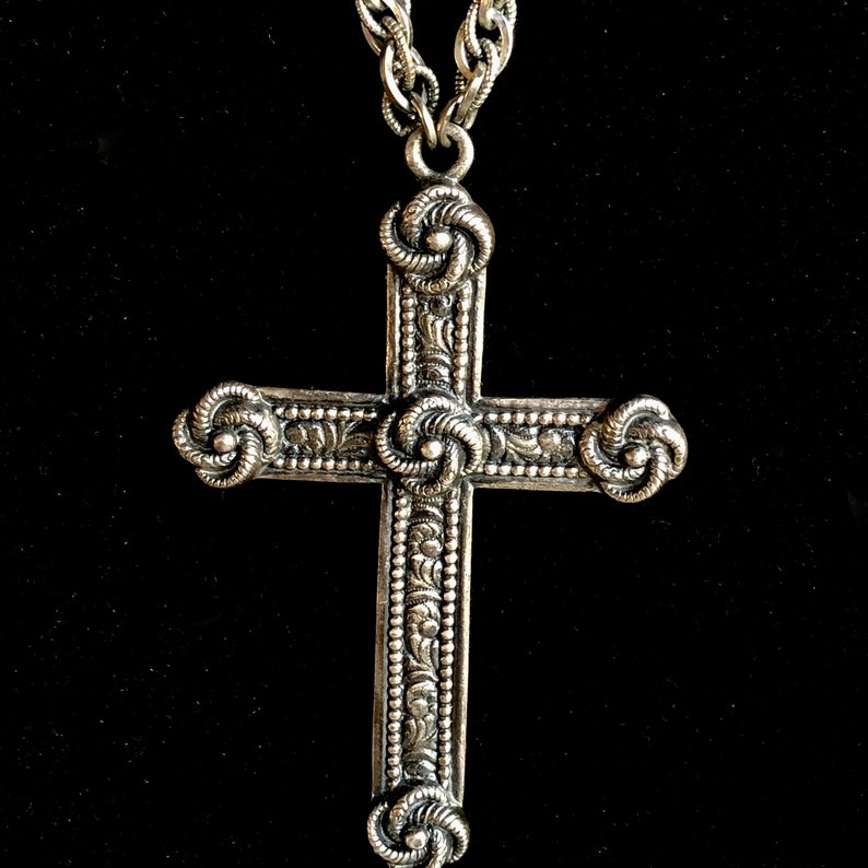 Vintage Napier 60s 70s Large Textured Cross Pendant Necklace Designer Signed Big Chunky Gothic Cross Necklace