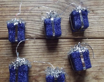 5 Blue Glitter Packages / Gifts / Floral supplies / Presents / mixed media / altered art supplies / assemblage / craft supply / DIY