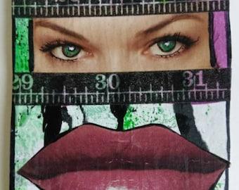 Green Eyes / Original ACEO / Mixed Media Collage / OOAK / Miniature Art  / Lips / abstract / art card / woman / original art / green