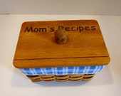 Vintage wooden Recipe box Woven Mom primitive hinged lid blue gingham retro kitchen storage Recipe cards gift
