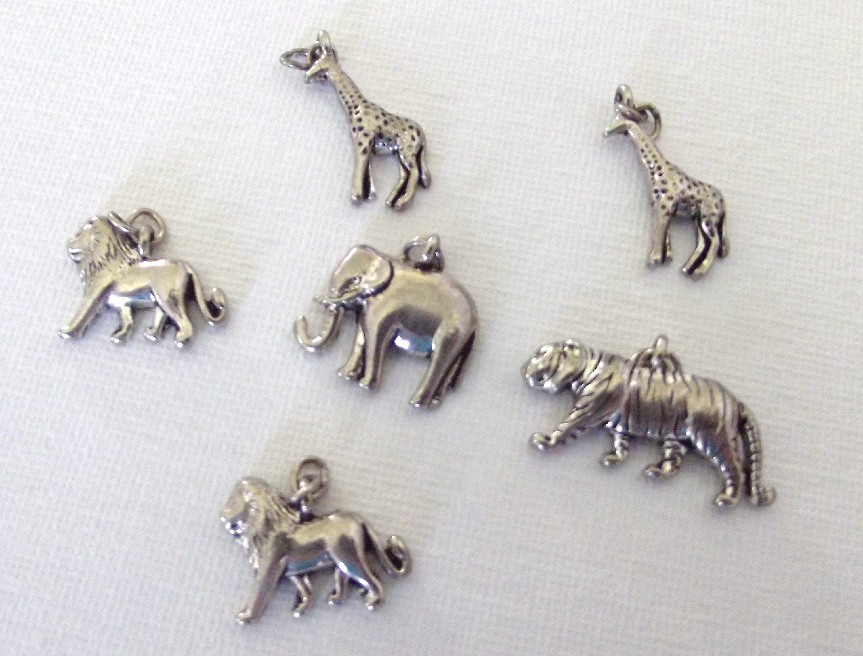 Salvaged Silver tone African Animal charms / Safari / Jewelry Supply ...