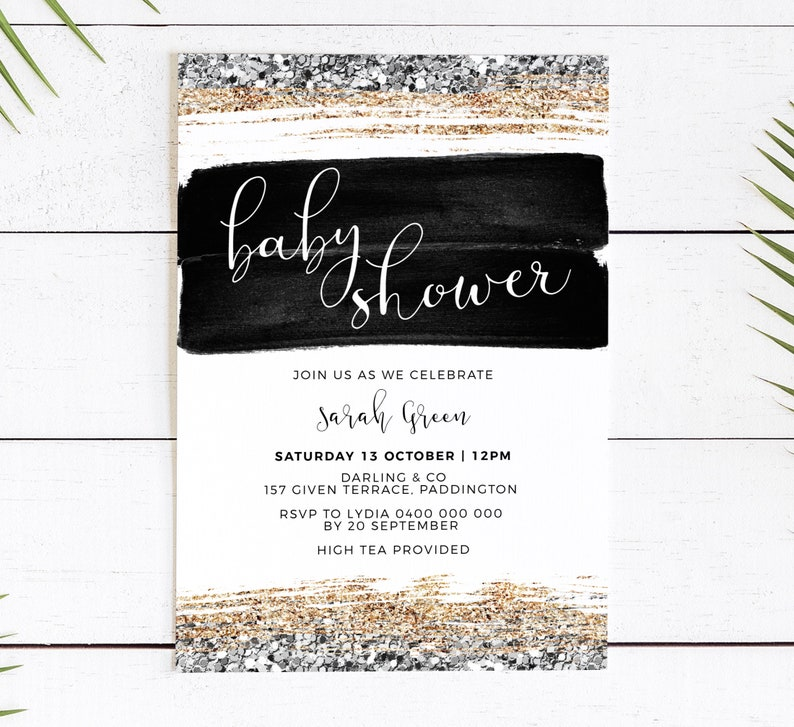 Modern Baby Shower invitation black and gold glitter  corjl image 0