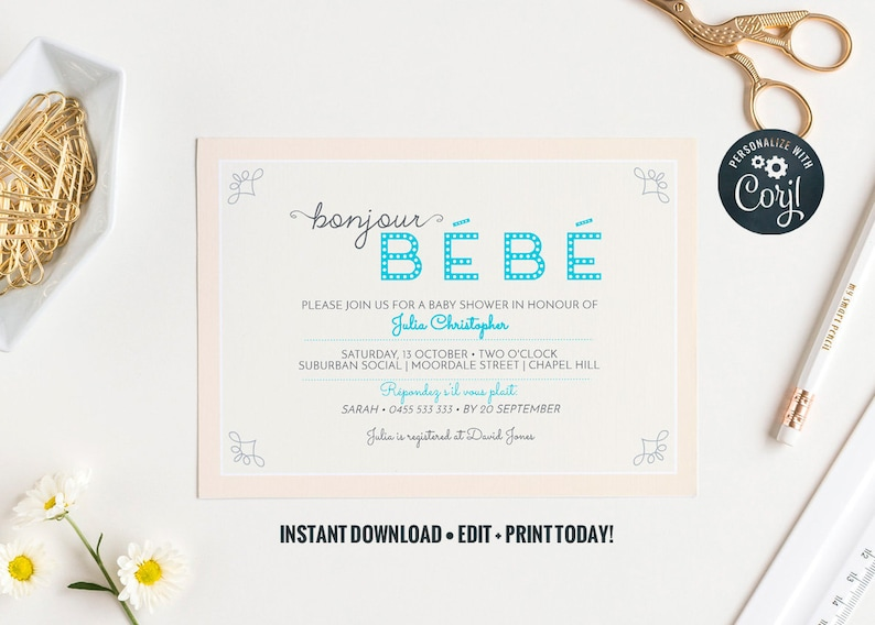 Bonjour Bebe printable baby shower  instant download  Baby image 0