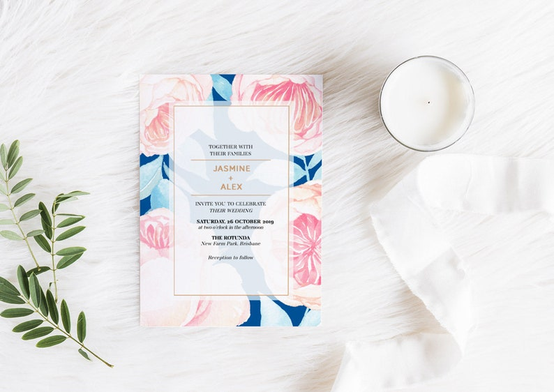 Greenery navy and floral Floralista wedding invitation  image 0